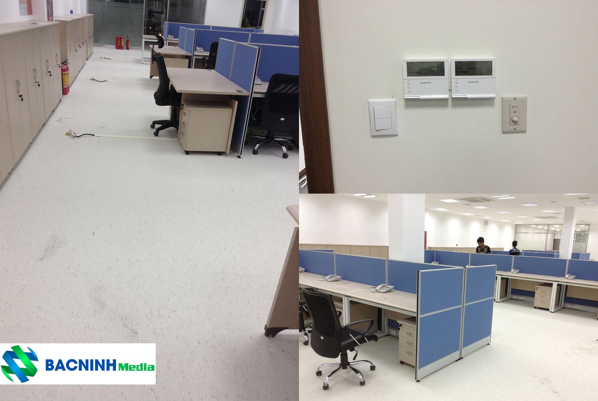 Đi dây tới từng vị trí bàn làm việc trong hệ thống mạng, hệ thống tổng đài điện thoại nội bộ công ty