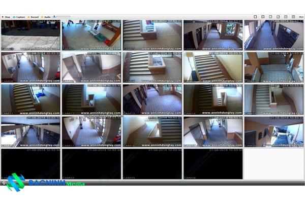 Hình ảnh camera quan sat các goc hanh lang cầu thang trong truong hoc